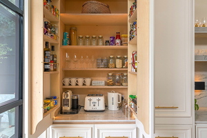We see so many amazing larder ideas, from utilising the corner space to walk in larders...here are some of our very favourites to give you some inspiration!