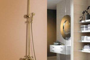 Gold and brass showers are having a real moment in the bathroom, giving an instant contemporary looking.
